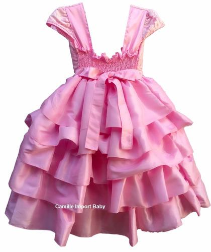 vestido princesa rosa daminha realeza barbie minnie e bolero