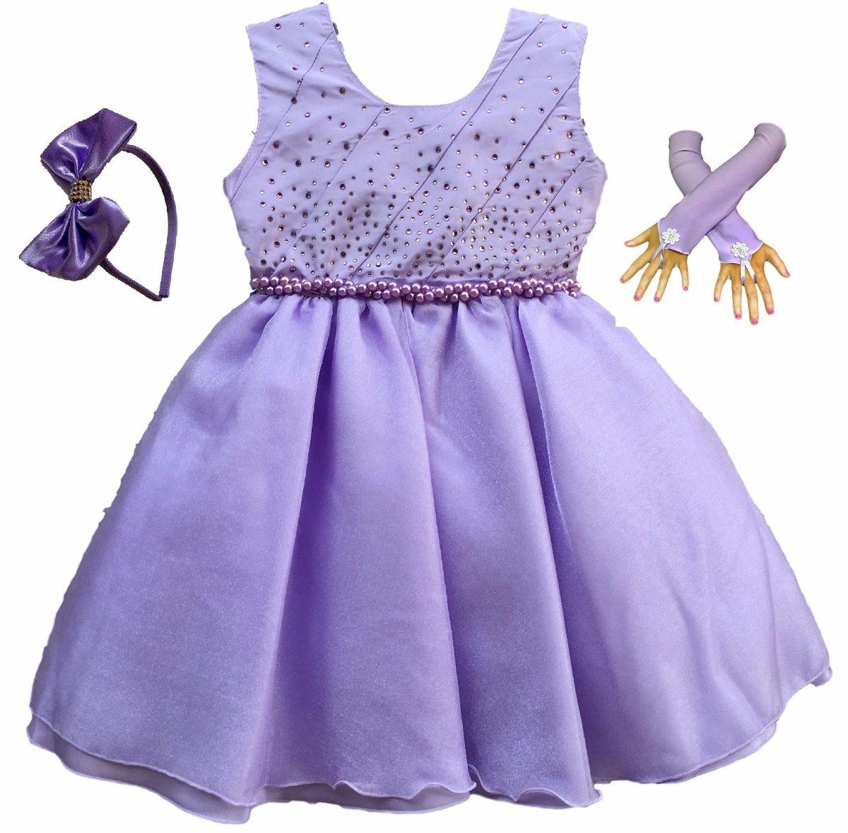 Vestido Princesa Sofia De Luxo Infantil Tiara 04 Ao 14