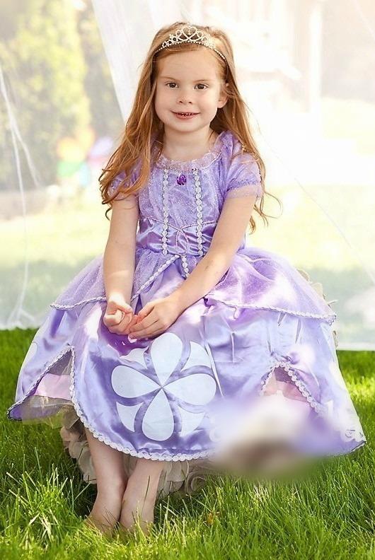 Vestido Princesa Sofia Fantasia Infantil Lilás Luxo Festa