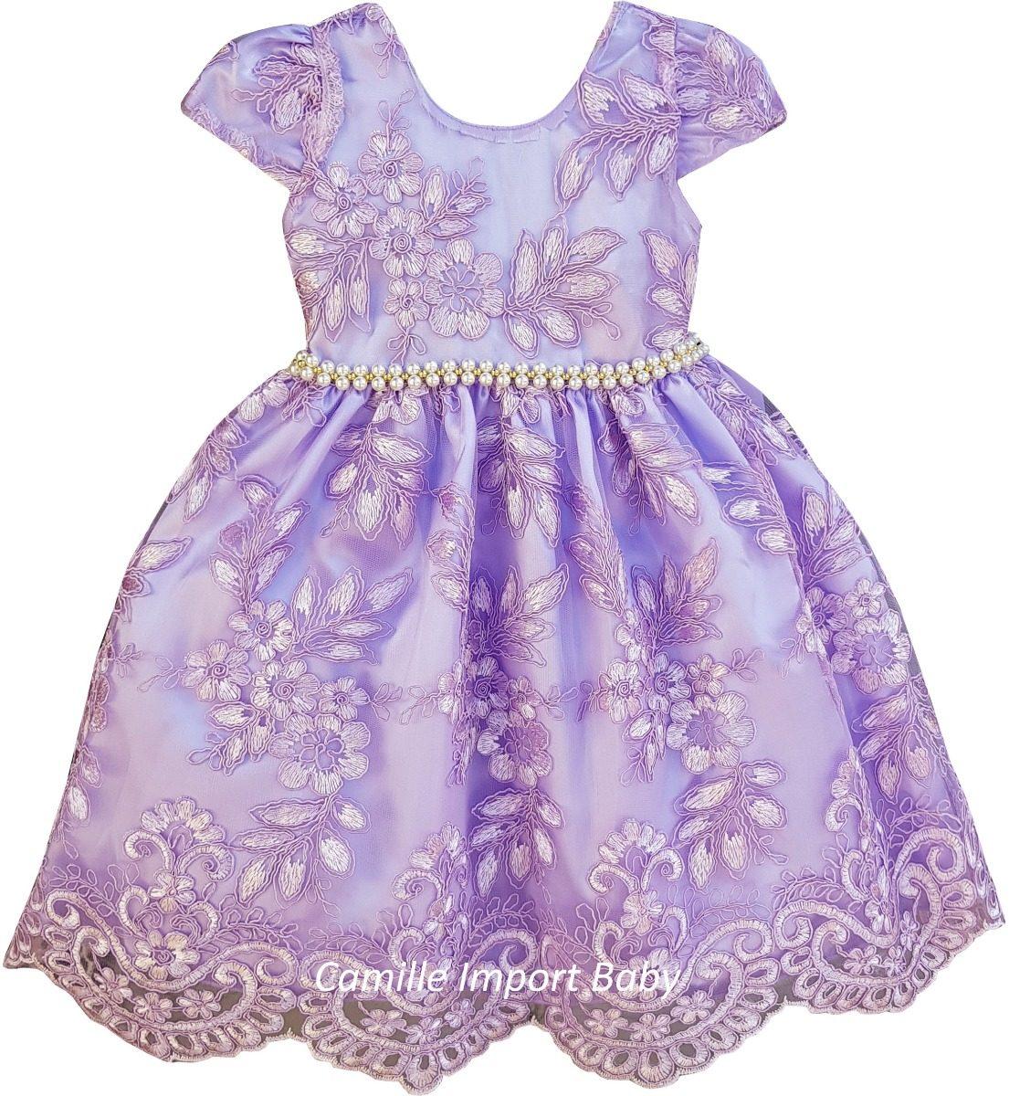 10e98774d5 vestido princesa sofia infantil chique lilas renda oferta. Carregando zoom.