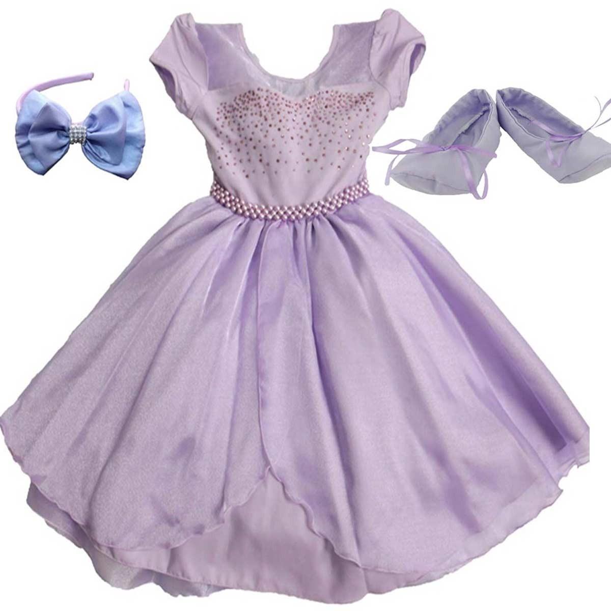 01095f260f vestido princesa sofia infantil luxo com tiara e sapatilha. Carregando zoom.