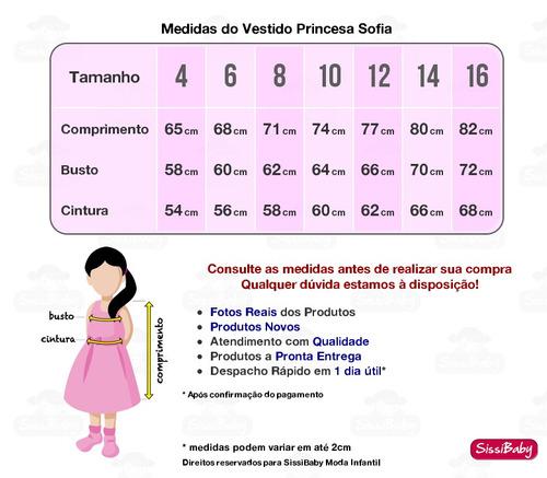 vestido princesa sofia luxo festa infantil com tiara chique