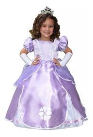 Vestido Princesa Sofia Luxo Infantil Armado Tiara E Luva
