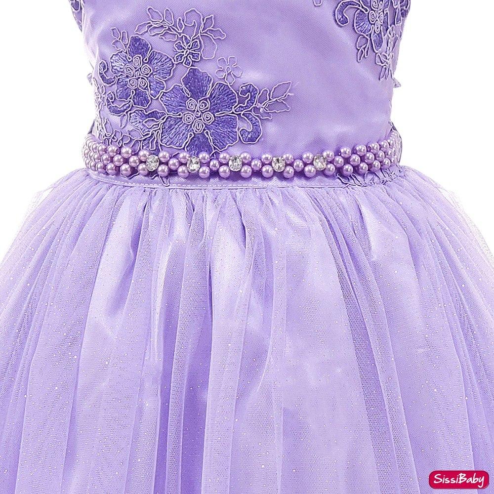 Vestido Princesa Sofia Rapunzel Festa Infantil Com Luvas