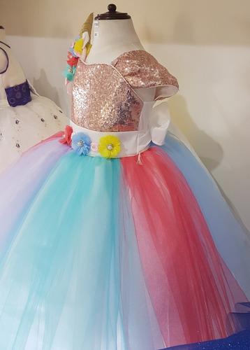 vestido princesa unicornio excelente calidad talla 3