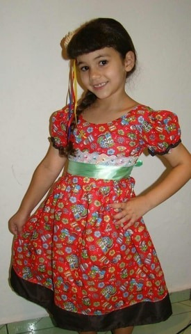 49a4544bb Vestido Quadrilha Festa Junina Caipira Infantil Kit 2 Unid - R$ 69 ...