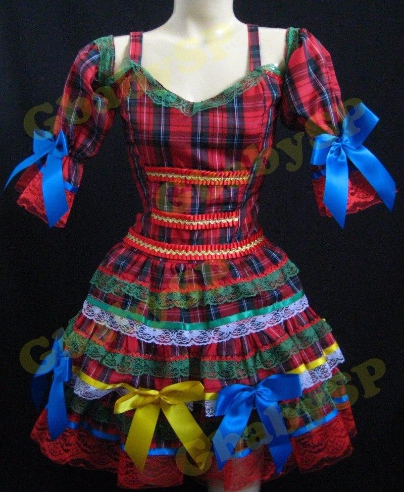 Vestido Quadrilha Infantil Festa Junina Para Criança Junino - R  195 ... a4ce3f8b5c0