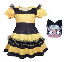 Vestido Queen Bee Meninas Fantasia Lol Carnaval Halloween