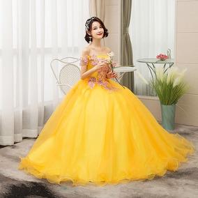 Vestido Quinceañera Barato Amarillo Bella Bordado Quinceaños