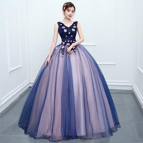 bb02359b57 Vestido Quinceañera Princesa Flores Listones Bicolor Xv Años