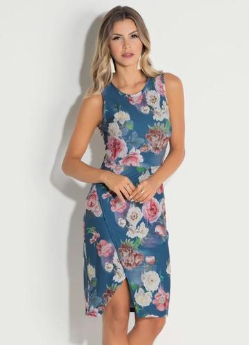df5f634a1e Vestido Quintess Floral Com Transpasse Na Saia - R  89