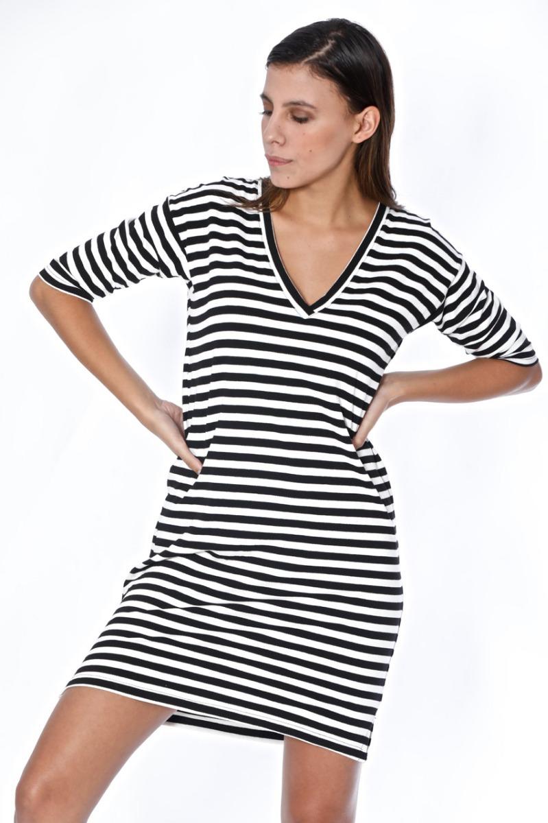 4f27887c7e vestido rayas blanco y negro corto talle grande escote v. Cargando zoom.