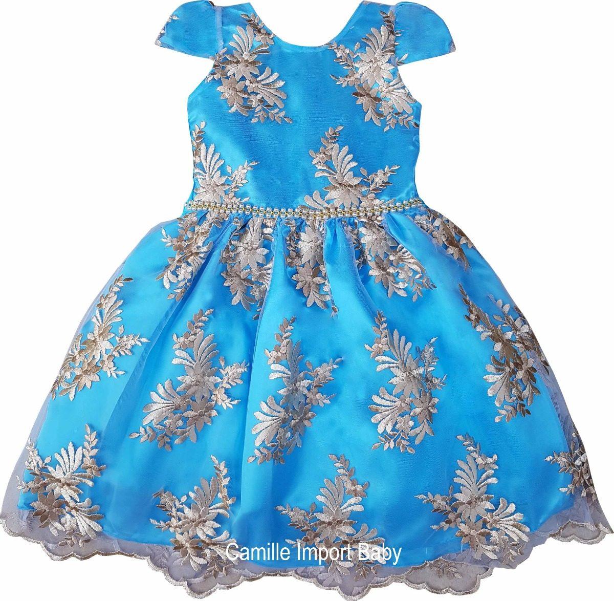 Vestido infantil azul e dourado