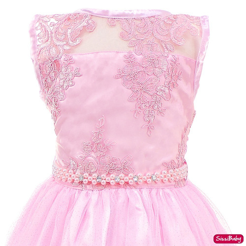 vestido realeza princesa rosa infantil chuva de amor tiara