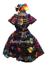 Vestido Regional Chiapas 5 Años 5 Olanes Niñas Envío Gratis