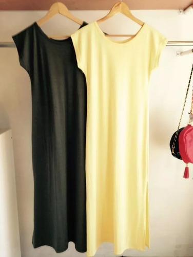 vestido remeron largo, manga corta, con tajos, algodon modal