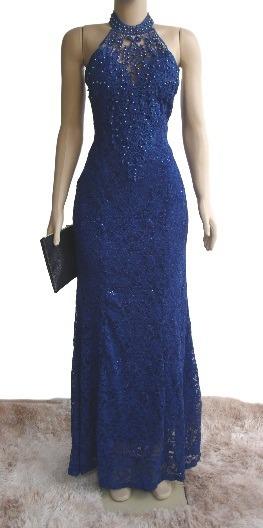 Vestido Renda Azul Bic Royal Madrinha Casamento Batizado