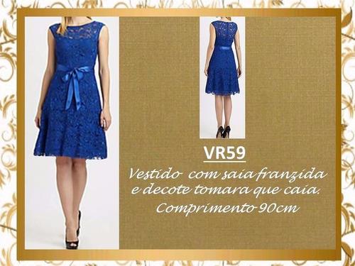 vestido renda clássico decote festa soltinho mila vr59