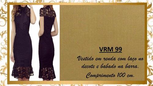 vestido renda clássico gola laço lançamento natal mila vrm99