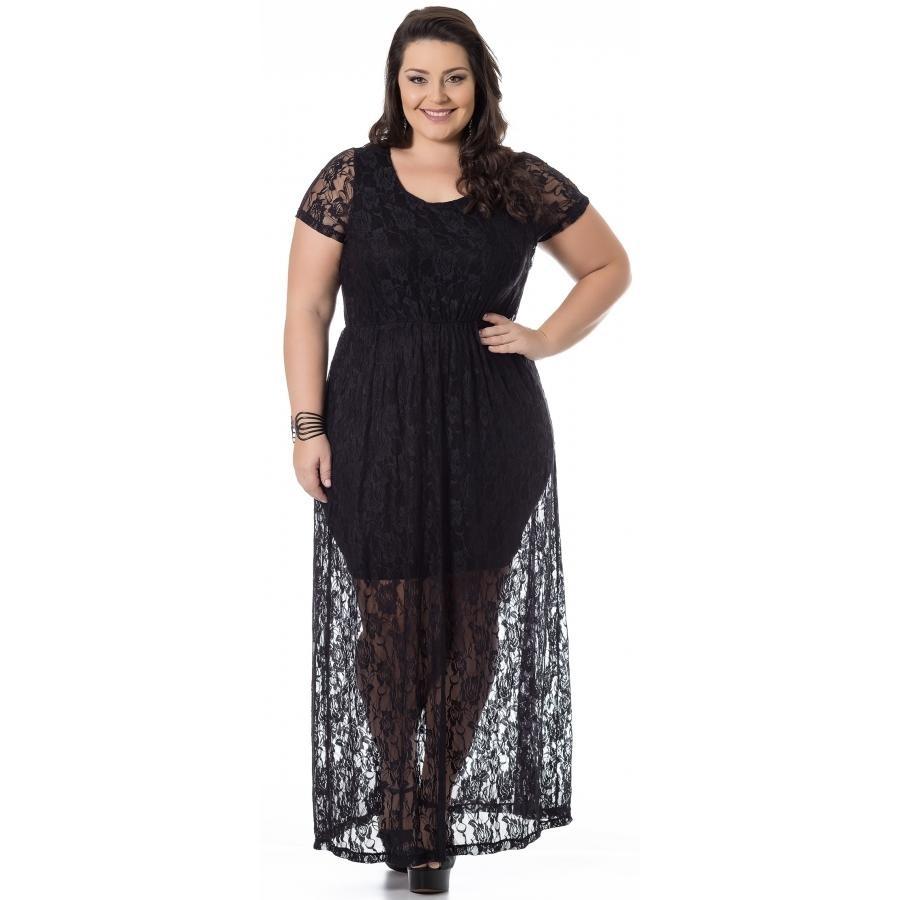 7901fb3761 vestido renda com viscolycra preto miss masy plus size. Carregando zoom.