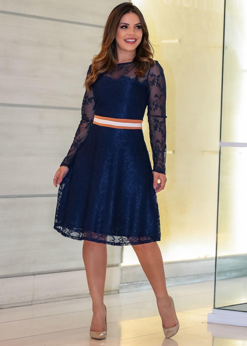 6034506cc vestido renda godê azul com faixa na cintura moda evangélica. Carregando  zoom.