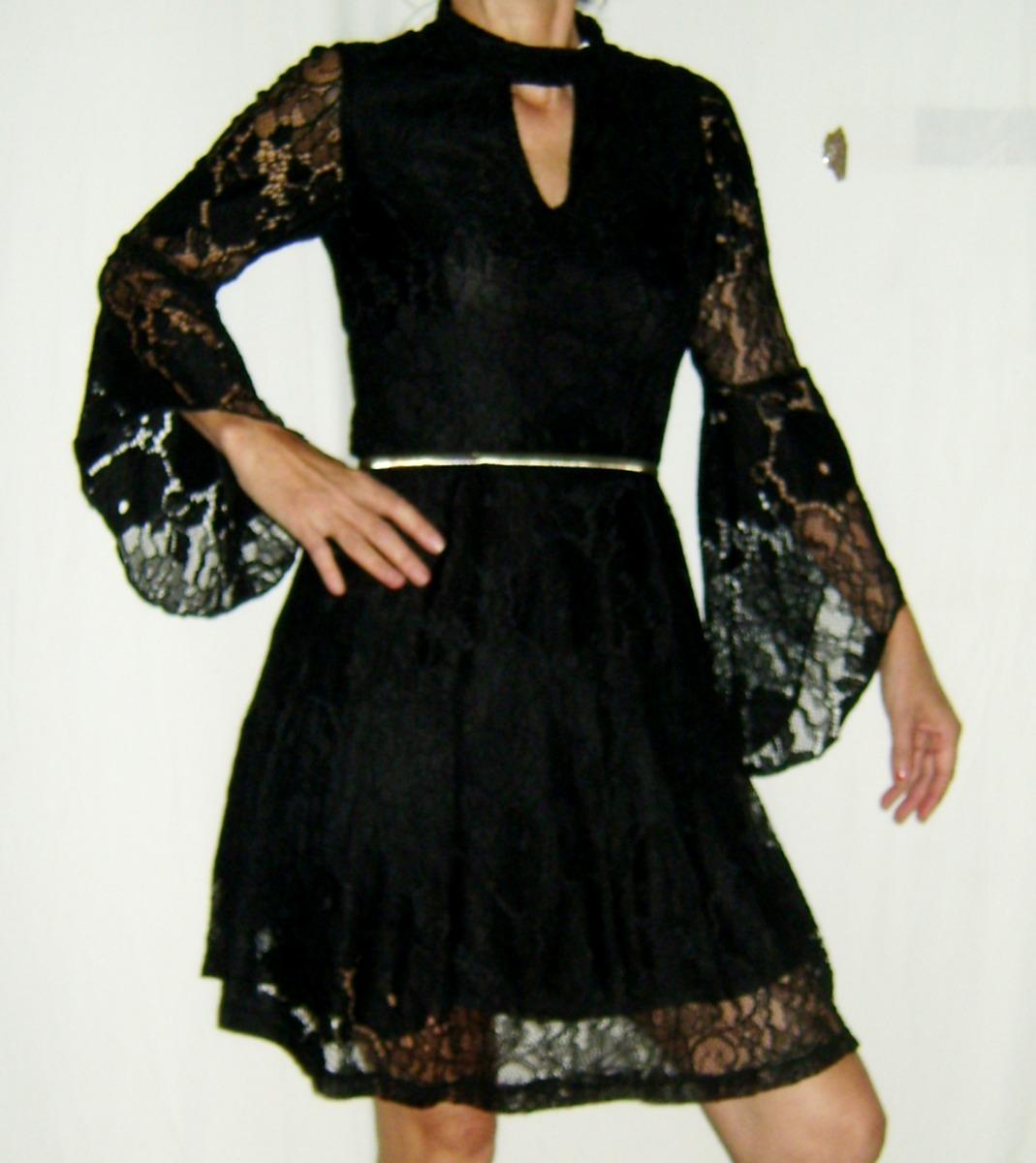 bd08d14fb vestido renda inverno manga longa preto tamanho m. Carregando zoom.