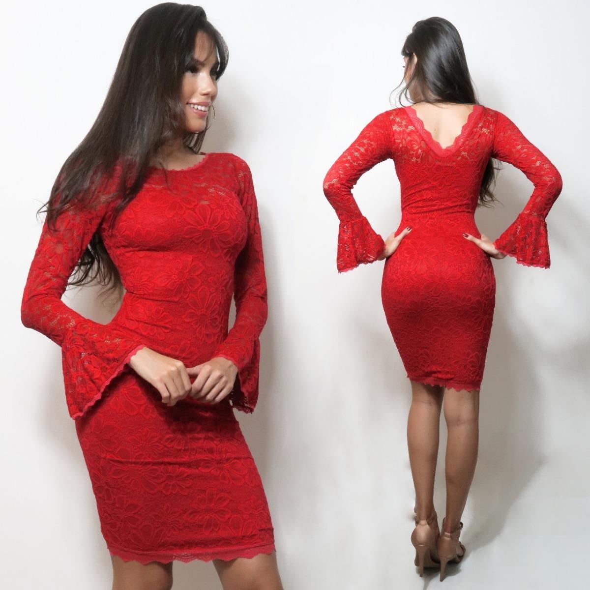479d7c449 vestido renda manga flare chique luxo vermelho sexy vrm50. Carregando zoom.