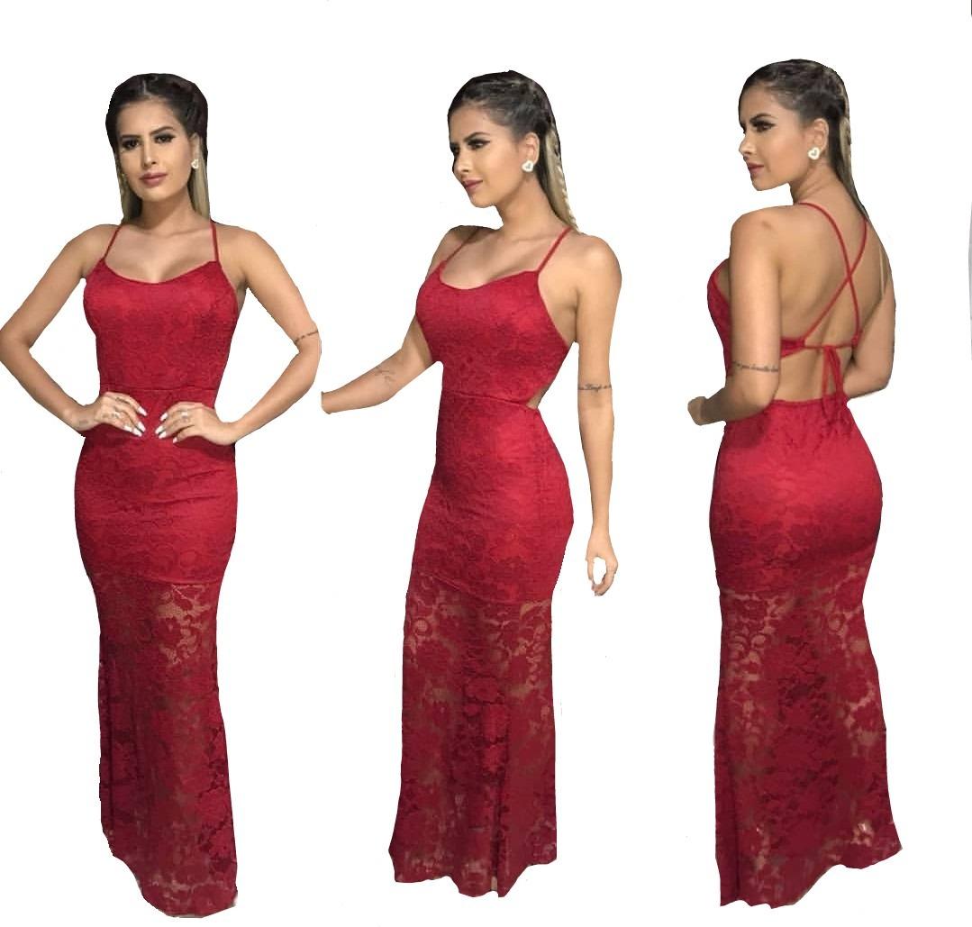 f7dff3737 Vestido Renda Sereia Longo Bojo Trançado Festa Madrinha Top - R$ 69,00 em  Mercado Livre