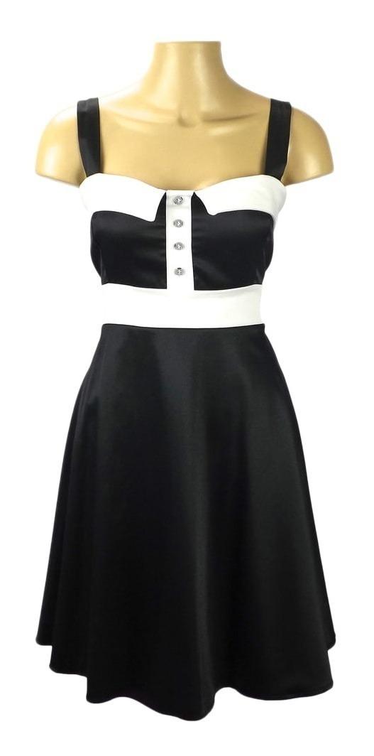 d947d3517 Vestido Retrô Pin-up - Cereja - Preto Com Branco - R$ 99,00 em ...