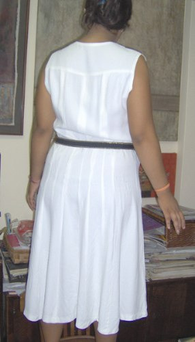 vestido retro blanco d/seda años 45/50 oportunidad vestuaris