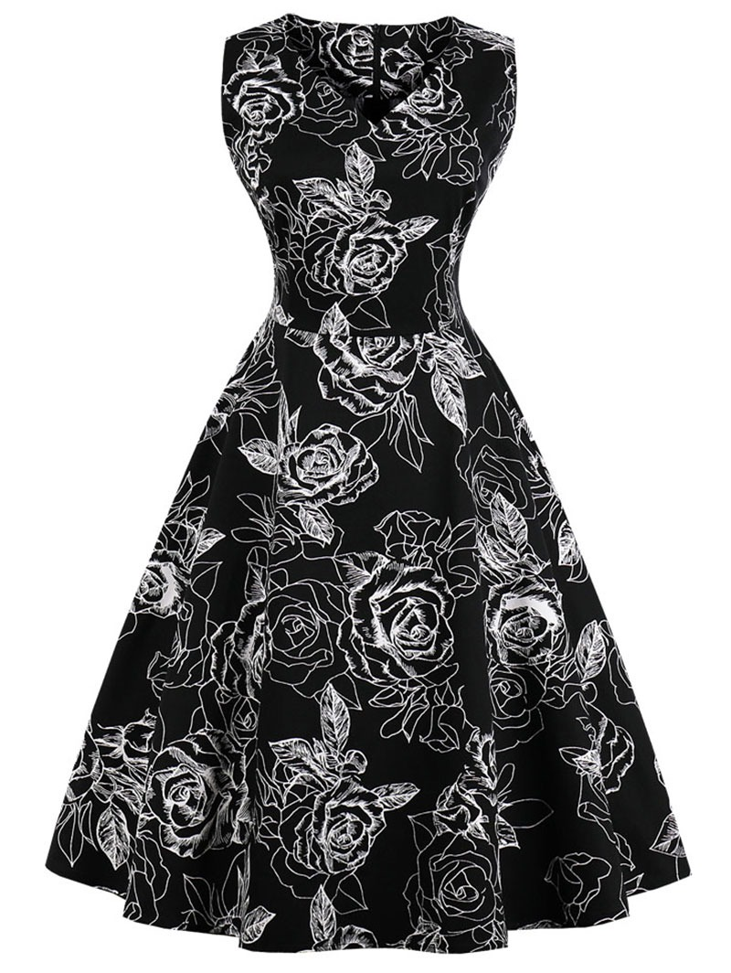 Vestido Retro De Campana 01f09023d26d
