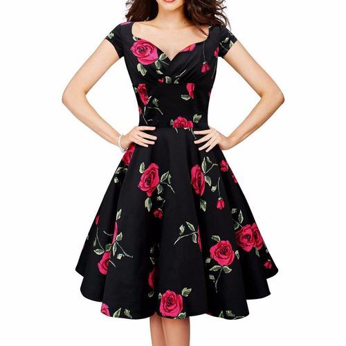 vestido rockabilly retrô anos 60 floral moda evangélica