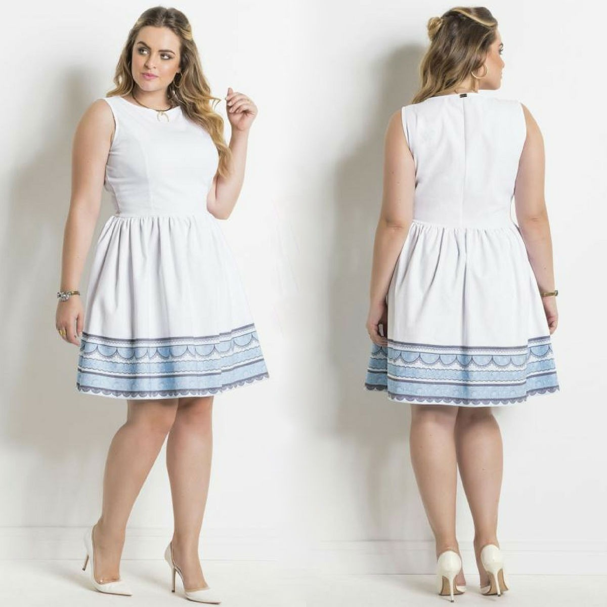 cfc1e3b99 vestido rodado curto de festa lindo moda plus size feminina. Carregando zoom .