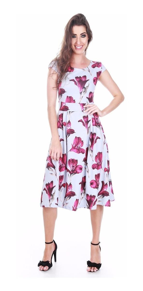 75199aa61 vestido rodado evasê flores estampado midi acinturado moda. Carregando zoom.