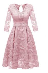 Vestido Rodado Festa Madrinha Casamento Civil Plus Size Rosa