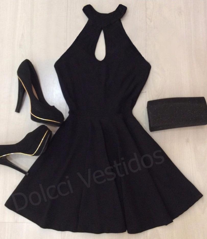 cd11f2f8c Vestido Rodado Frente Única Gola Alta A041 - R$ 69,20 em Mercado Livre