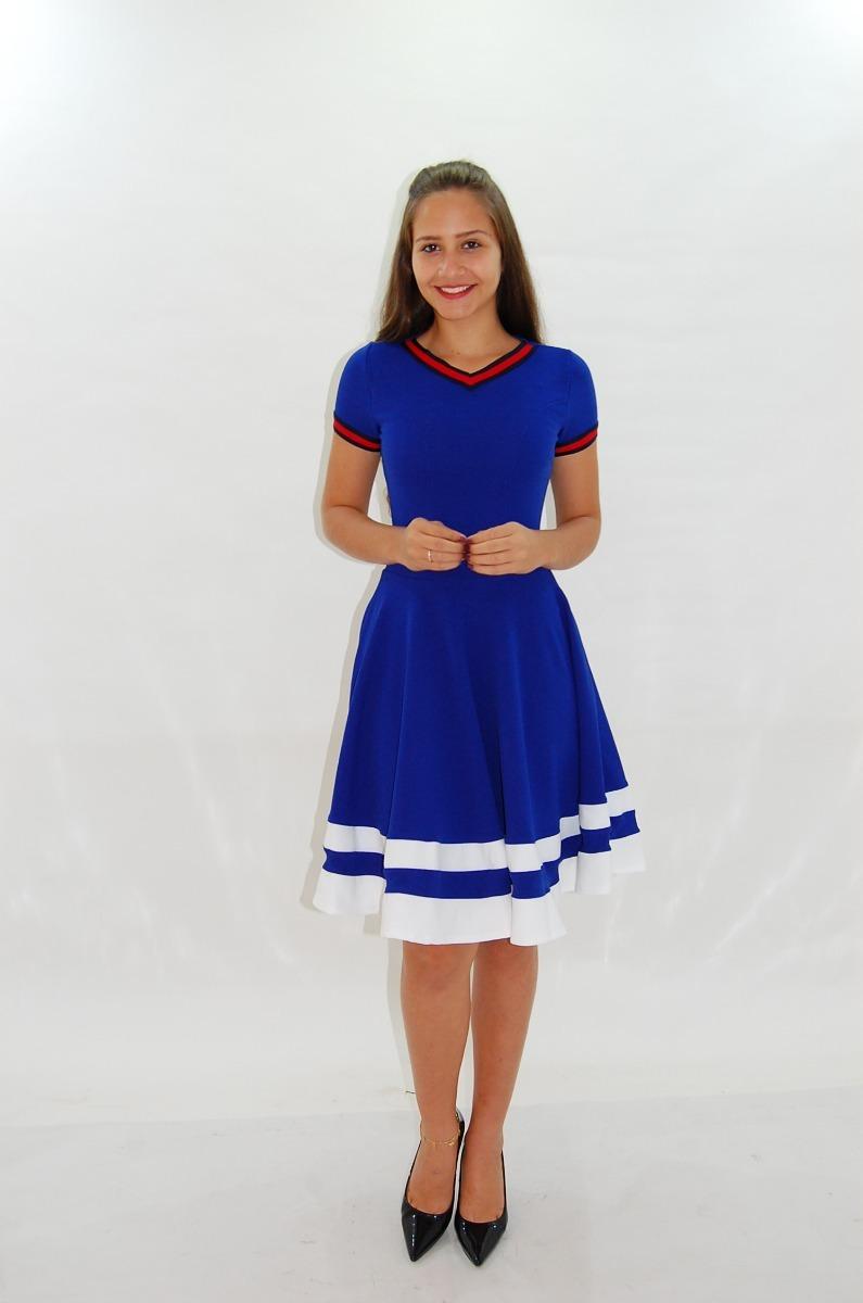 1f1c8ccaf Vestido Rodado Gode Azul Moda Evangélica Tata Martello - R  89