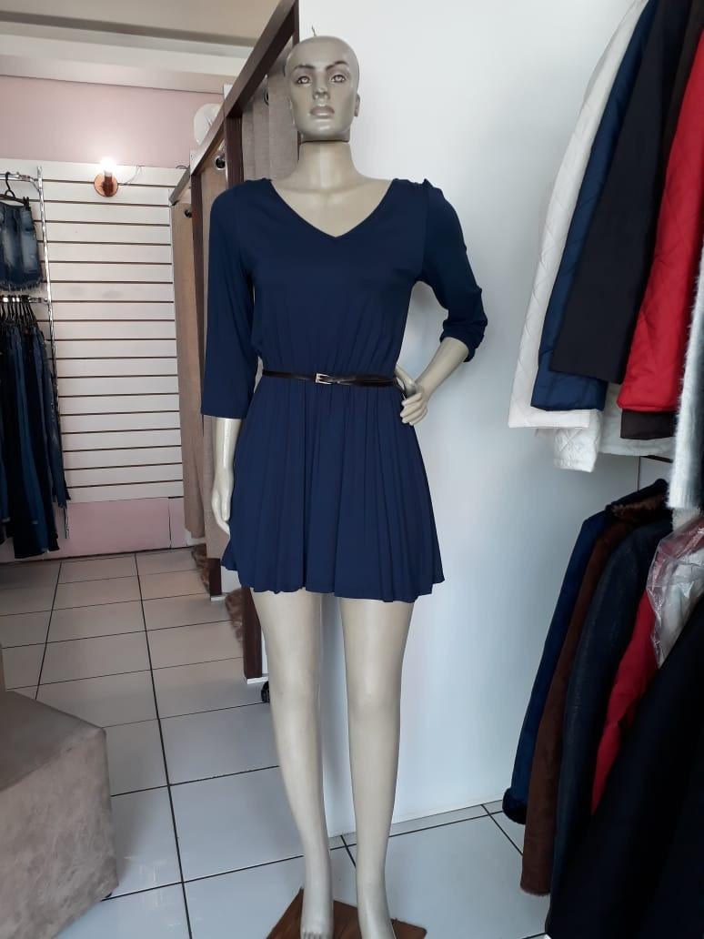 vestido rodado manga 3 4 rovitex azul gg elástico. Carregando zoom. 0fde45c7a2