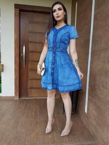 vestido rodado vestido médio jeans sem lycra leve macio 038