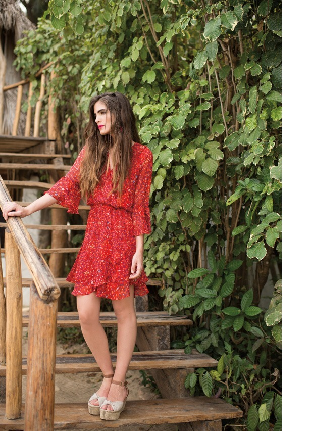 d2eb23fb491f0 vestido rojo casual estampado de flores primavera talla ch. Cargando zoom.