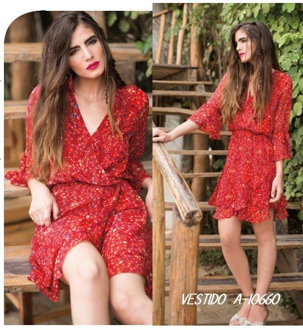 d4d8618743860 Vestido Rojo Casual Estampado De Flores Primavera Talla Ch ...