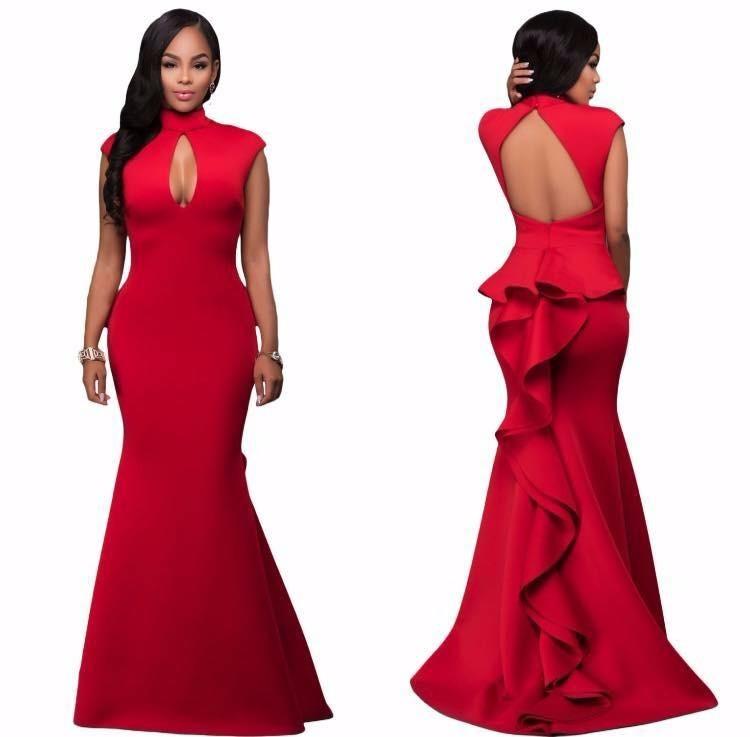 62c68e045 Vestido Rojo Cola De Sirena Noche Coctel Boda Fiesta -   899.00 en ...