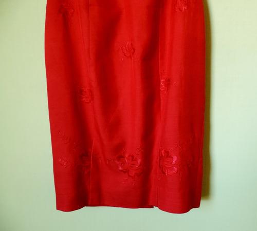 vestido rojo con bordados liz claiborne