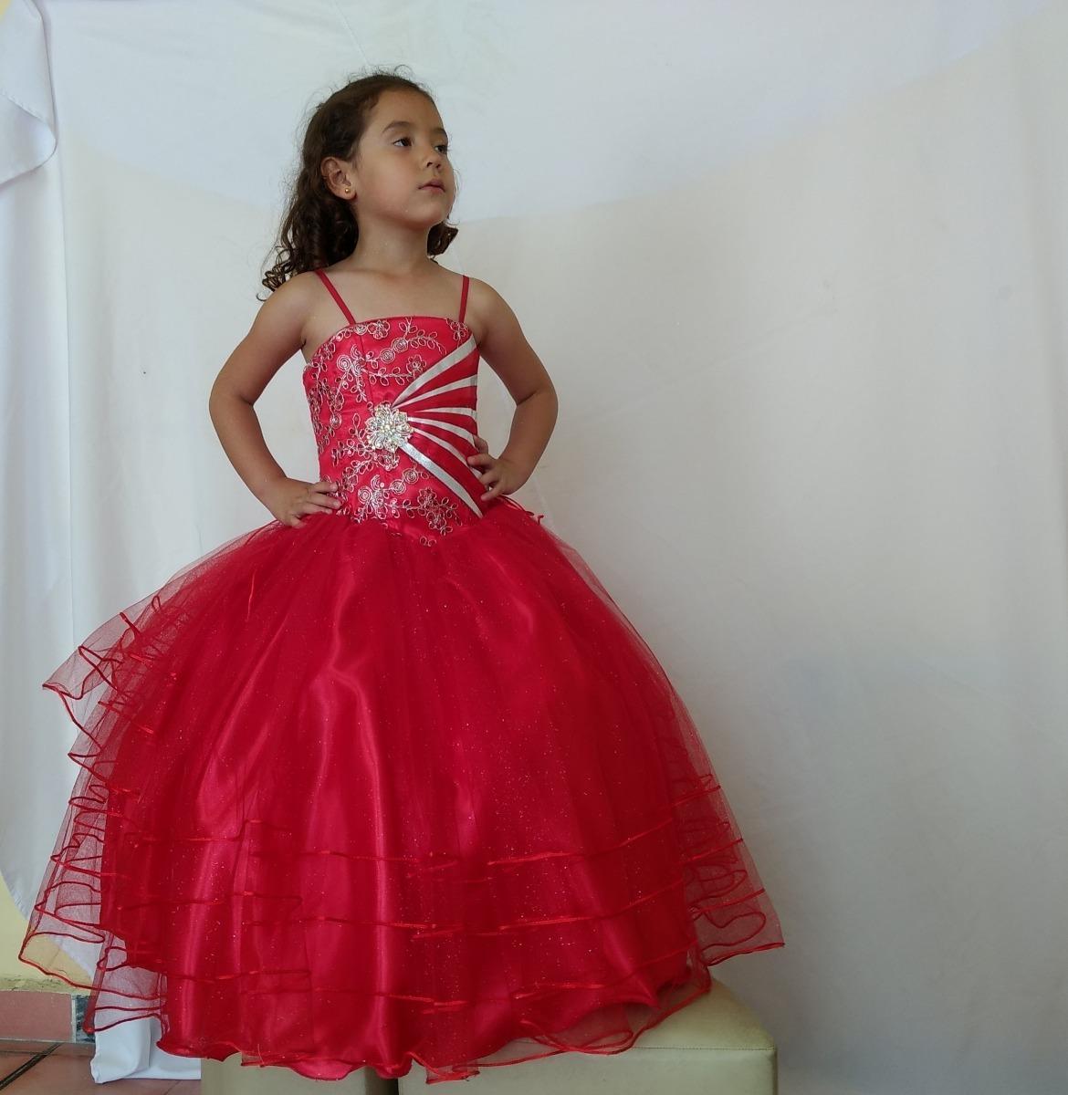 Vestido Rojo Con Crinolina Para Niña Falda De Brillos