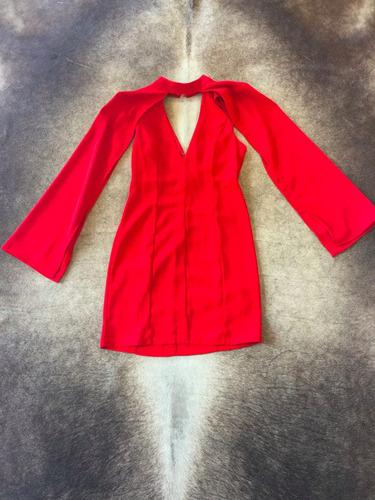 vestido rojo con manga capa coctel moda fashion importado 18