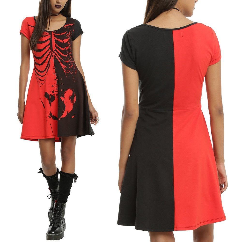 cb9cf17ccdbd6 negro punk con m zoom vestido s Cargando gothic talla mujer rojo spandex  p1xRqEnqwz