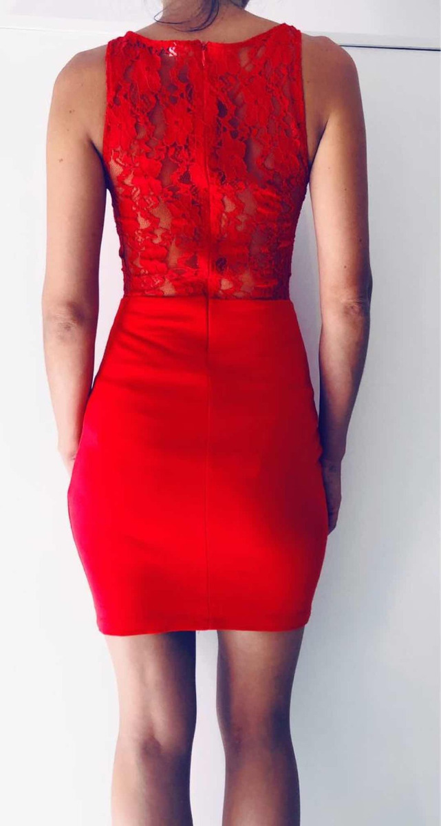 7dd8b350f vestido rojo corto encaje noche fiesta zara. Cargando zoom.