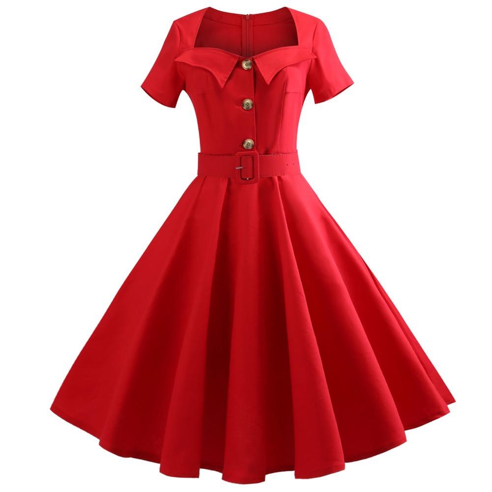 sitio de buena reputación 569e2 bfd8a Vestido Rojo Dama Elegante Vintage De Epoca Incluye Cinturón