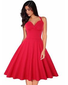 Vestido Rojo Dama Sensual Y Elegante Vintage Corte Halter
