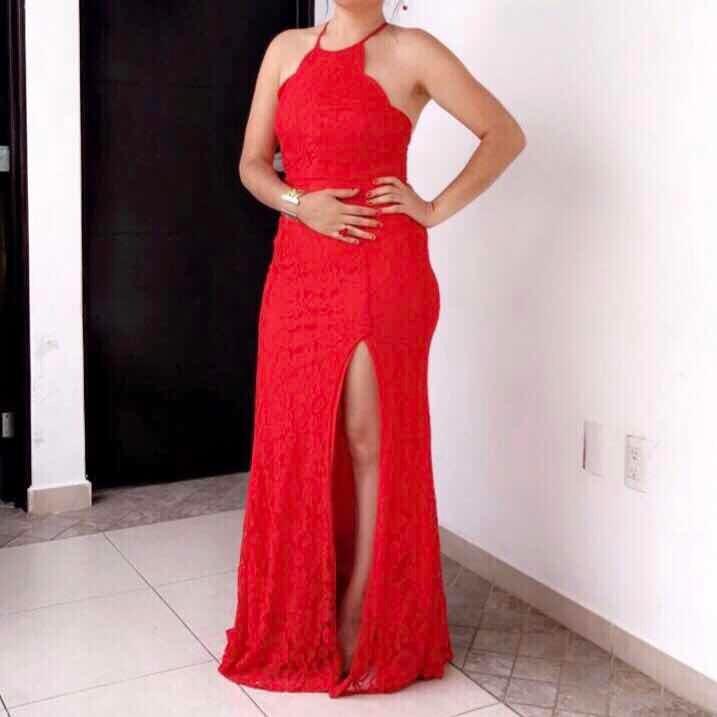Vestido fiesta sirena rojo